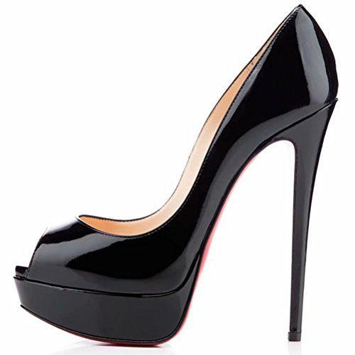180a62b54ce Caitlin Pan Femme Lady Escarpins Sexy Haute Talon Aiguilles Plateforme Bout  Cheville Chaussure pour Mariage Club Soirée