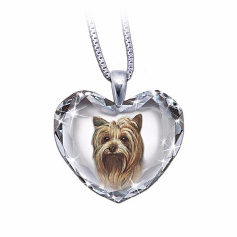 37 best yorkshire terrier lover gifts images on pinterest yorkies yorkie heart shaped crystal pendant necklace aloadofball Gallery