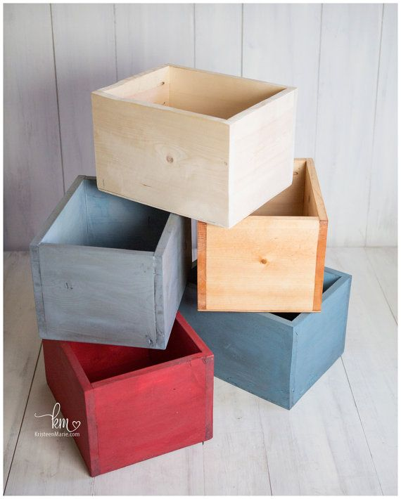 Painted wooden newborn photography box prop painted box in red blue teal