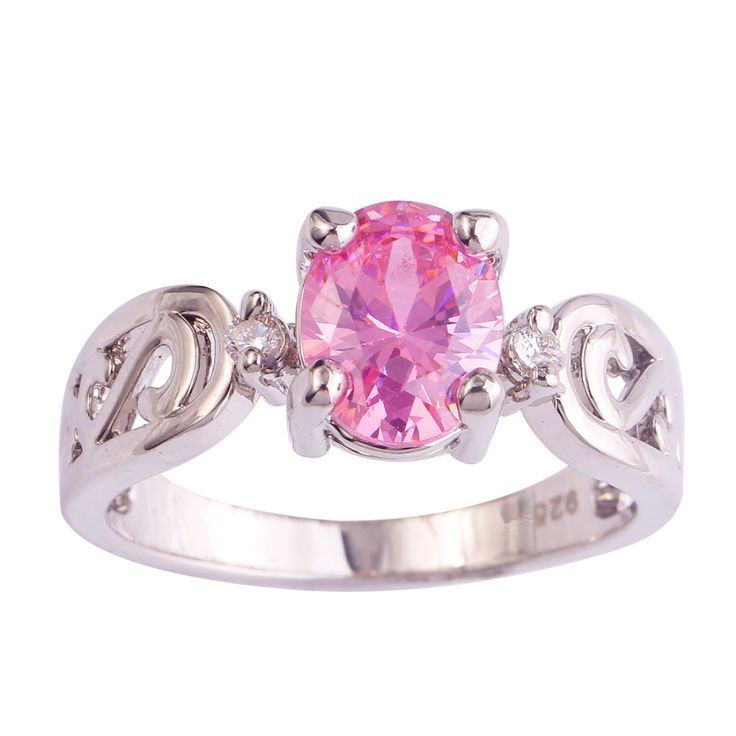 lingmei Wholeale Fashion Beauty Pink & White CZ Silver Ring Jewelry For Women Gift Size 6 7 8 9 10 11 12 Free Shipping 933R8