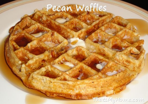 Pecan Waffles - Crispy, light and full of pecans! Recipes, Food and Cooking