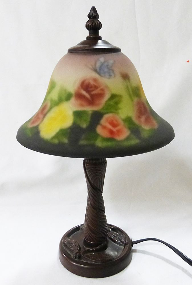 Vintage Table Lamps With Flowers : Vintage art deco table lamp with reverse painted frosted