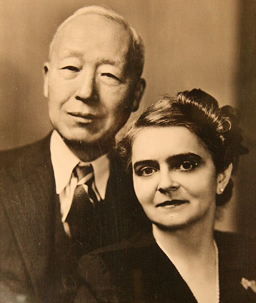 Syngman Rhee, the first president of South Korea, with his second wife, Franziska Donner, who served as the country's inaugural First Lady.