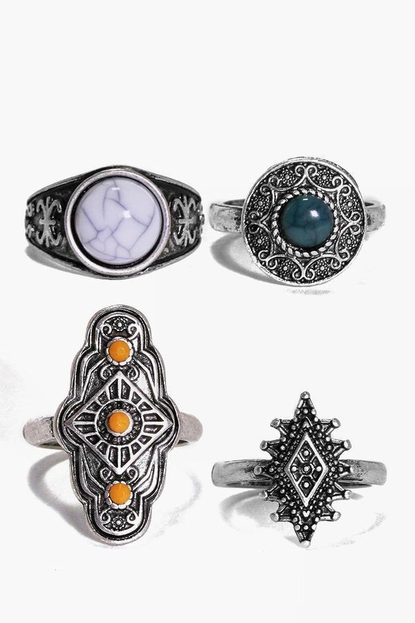 boohoo Daisy 4 Piece Boho Stone Ring Pack