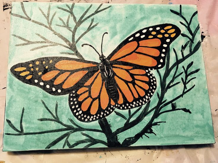 Monarch butterfly 2017 Acrylic on canvas