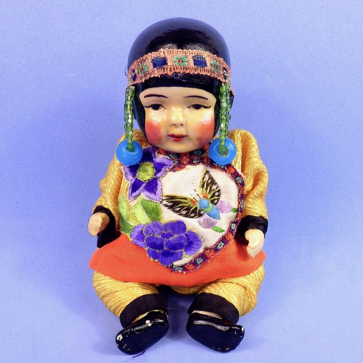 All Bisque Asian Baby, Elaborate Costume from austin-sibleantiques on Ruby Lane