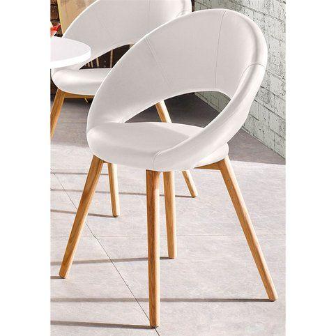 lot de 6 chaises design scandinave imitation cuir blanc. Black Bedroom Furniture Sets. Home Design Ideas