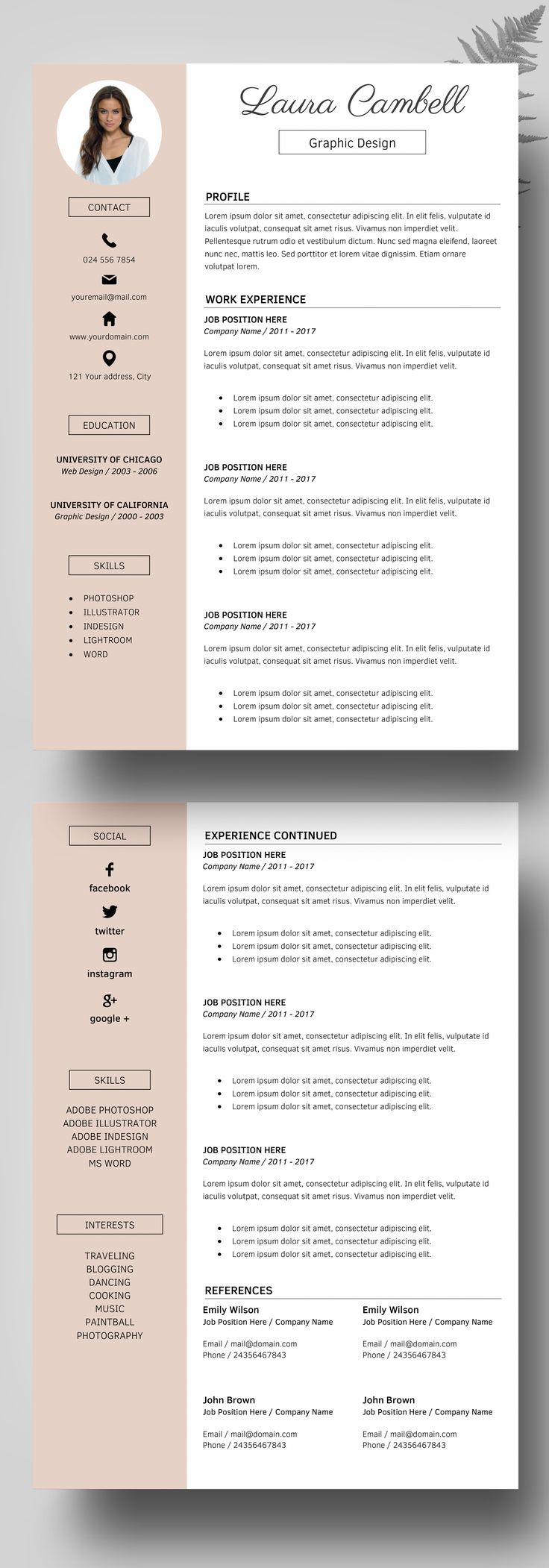 modern resume template cv template for word cover letter references icons