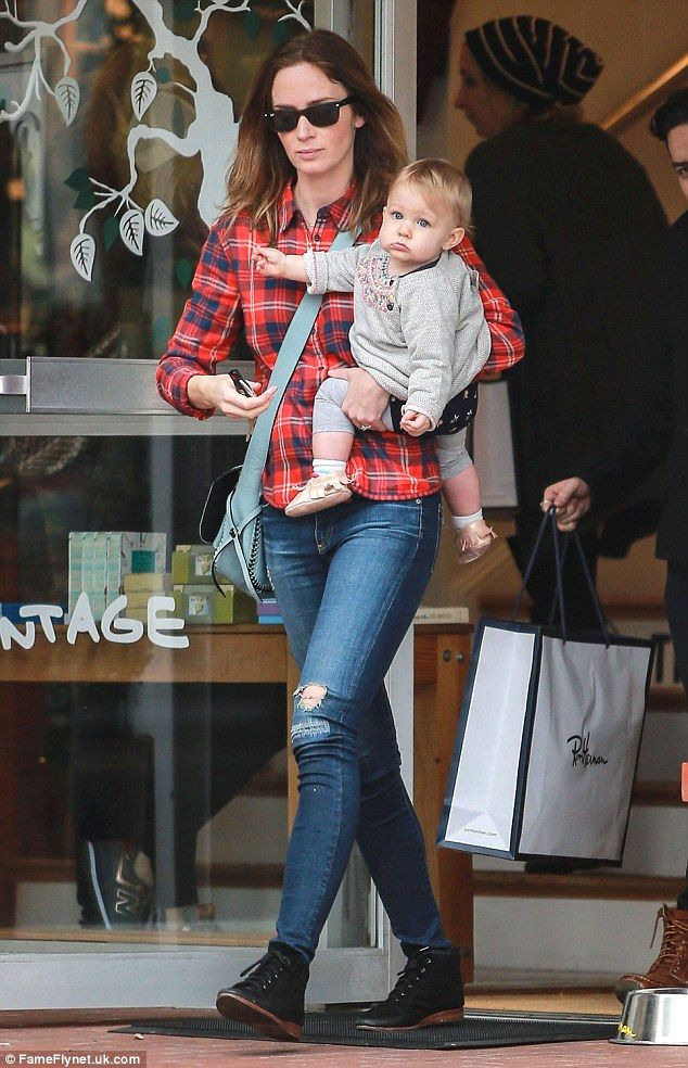 Emily Blunt took her infant daughter, Hazel, shopping in West Hollywood on Tuesday