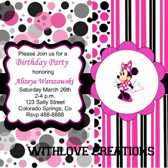 Mini Mouse Birthday Invite by WithloveCreations on Etsy, $15.00