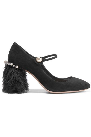 Miu Miu - Feather-trimmed Embellished Suede Mary Jane Pumps - Black - IT39.5