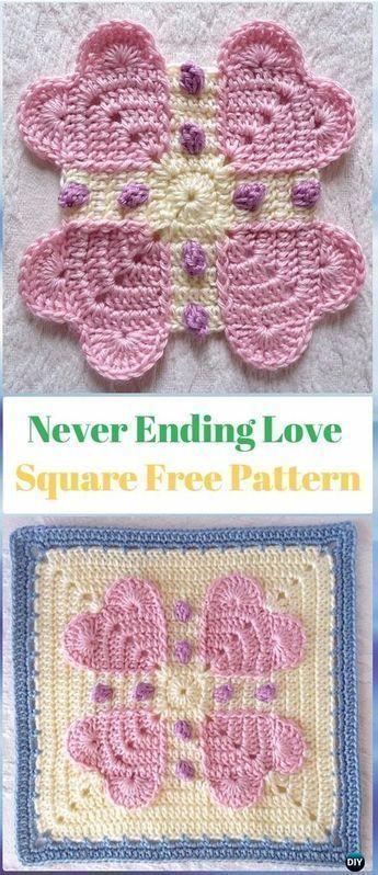 Crochet ANever Ending Love Square Free Pattern - Crochet Heart Square Free Patterns #crochetsquares