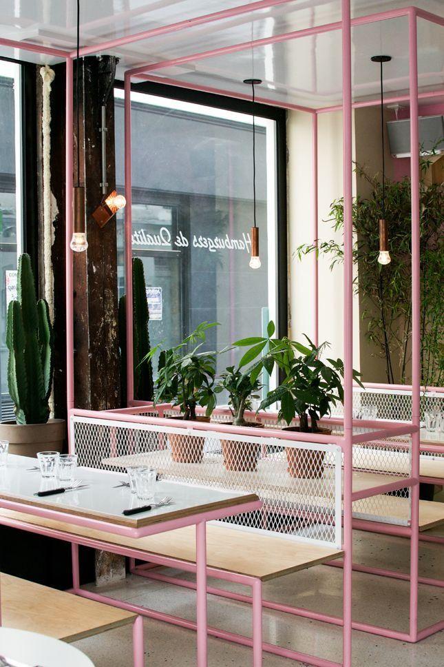 Love this minimalist modern restaurant design in Paris's hip Marais neighborhood.