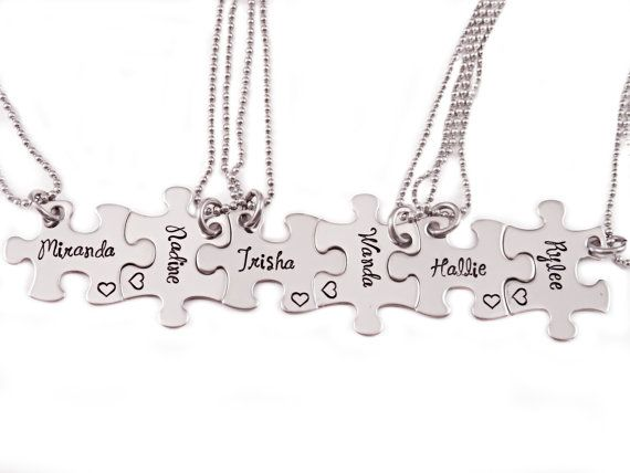 Bridesmaid Gift Puzzle Piece Necklace Set   Hand by Stampressions, $36.00