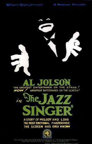 "The Jazz Singer (1927) - the first talking/singing movie about a young man trained to be a Jewish Cantor, but who choses show biz, to his father's dismay.  This beautiful, dramatic poster just speaks ""Al Jolson""."