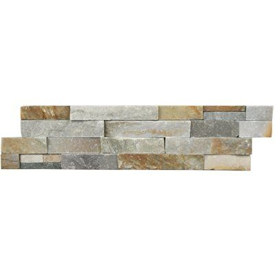 Avenzo 6-Pack 24-in x 6-in Beachwood Light Splitface Natural Slate Wall Tile First grade slate veneers for wall use Unglazed natural split surface with