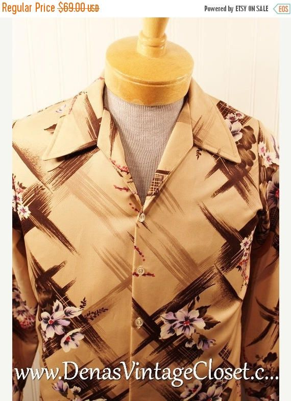50% Off SALE Vintage 70s Triumph Polyester Disco Men's Hipster Shirt Tan Abstract Design Floratl Design SZ M