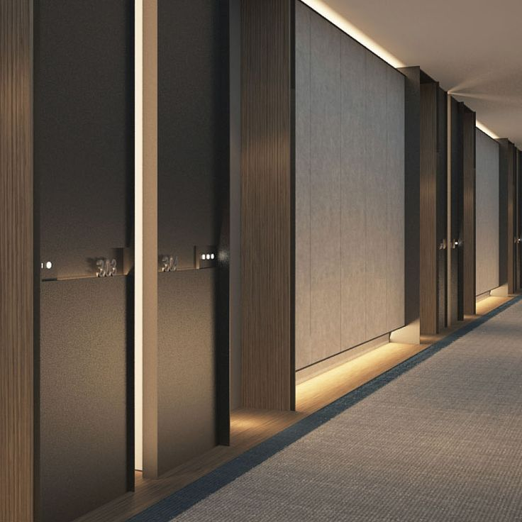 SCDA Hotel Development, Singapore- Guestrooms Corridor- Again, light down low, blade design element