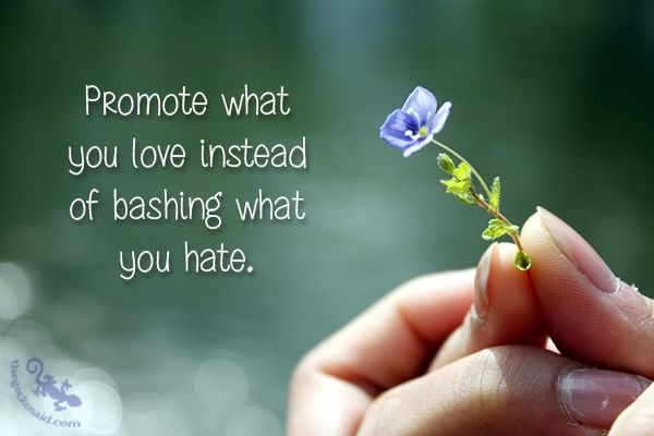 Promote what you love instead of bashing what you hate.  #promote #love #instead #bashing #hate #quotes  ©The Gecko Said - Beautiful Quotes - Thegeckosaid.com™