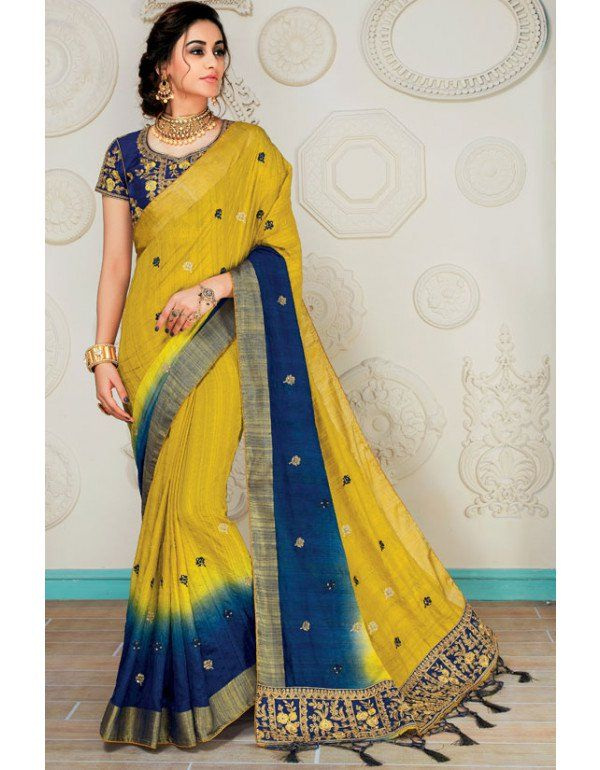 046ef50f09da0 Mustard Yellow and Navy Blue Raw Silk Saree with Readymade Blouse in ...