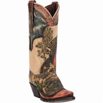 Dan Post Ladies Western Boots Carlita DP3292 Tan Multi-Color - BestinShoes.com