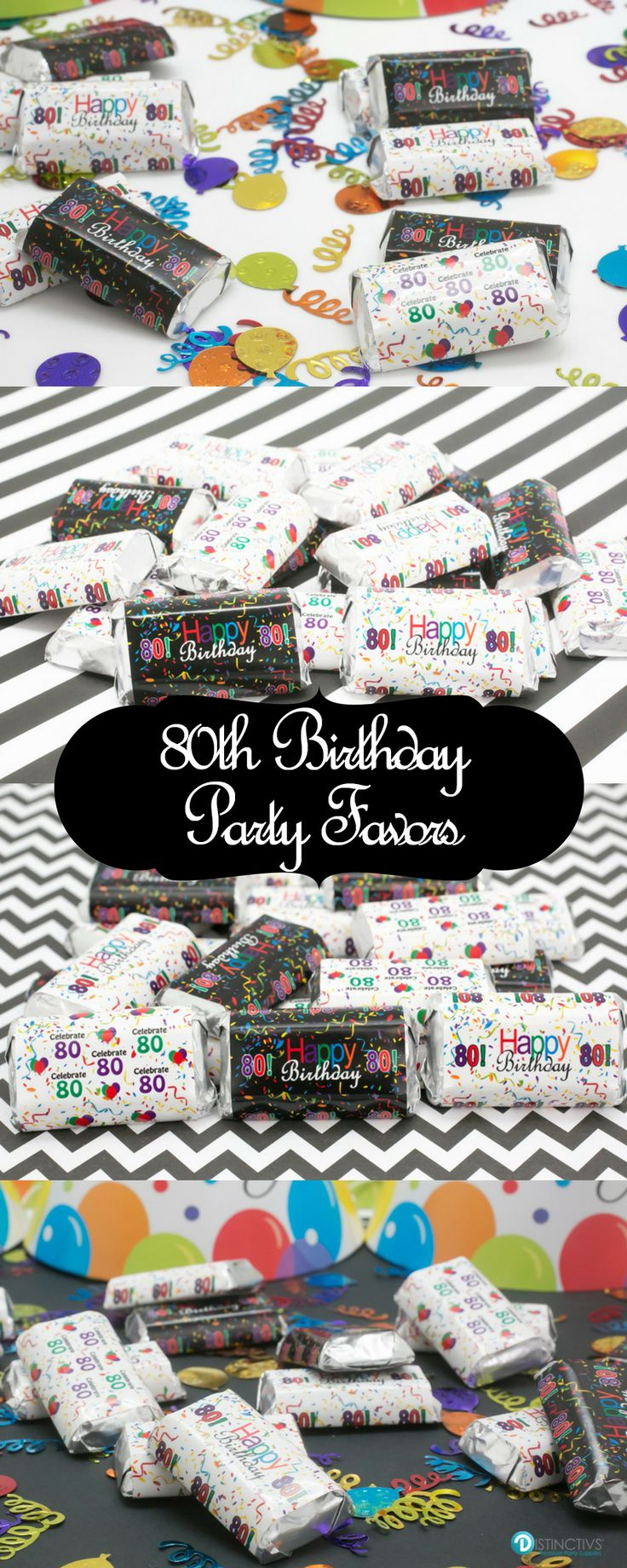 Congratulations on 80 Years! Enjoy these Happy 80th Birthday themed stickers for Hershey's Miniatures Bars to make a simple and easy birthday party favors or table decorations!
