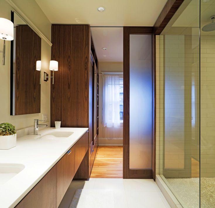 Inspiring Ideas For Excellent Wooden Pocket Doors Design: Astonishing  Bathroom Design With Modern White Washbasin