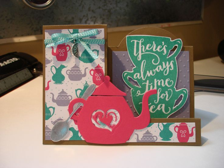 Side Step Cards for Jan 2016 Using Stampin' Up ! 2016 Occasions Catalogue - Bundle Cups + Kettle Framelites; A nice Cuppa Stamp set - with matching embellishments and paper!!