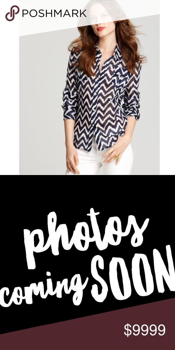 Milly Chevron Shirt Elisa Epaulent Button Down Coming soon Milly of New York Tops Button Down Shirts