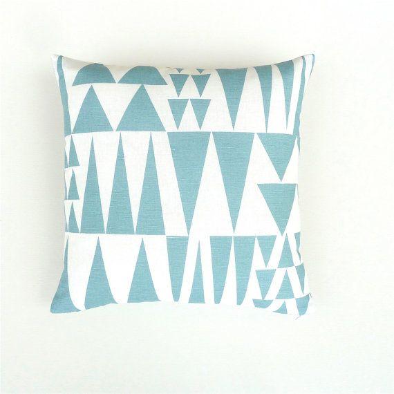 Blue and White Cushion Cover. Blue Scandinavian Cushion. Blue