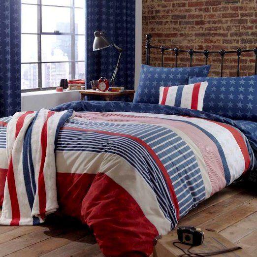 Boys Assorted Single Duvet Quilt Cover Bedding Set Stars Stripes Blue Red White: Amazon.co.uk: Kitchen & Home