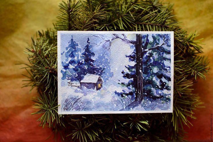 """Купить Акварель """"Зимний дом"""", открытки ручной работы, новогодние открытки - акварель"""