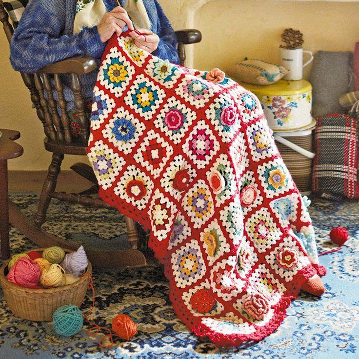イングリッシュガーデンのお花たち かぎ針編みのカラフルモチーフブランケットの会|フェリシモ