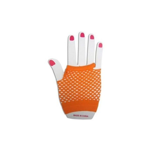 Electric Orange 80's Throwback Short Fishnet Gloves (3.35 CAD) ❤ liked on Polyvore featuring accessories, gloves, fishnet gloves, short gloves and orange gloves