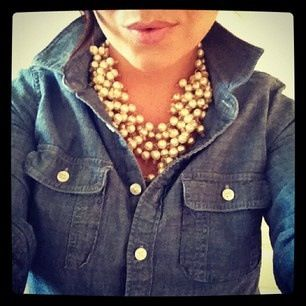 chambray shirt ~ chunky pearl necklace