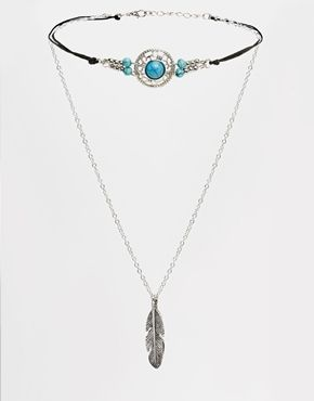 Agrandir ASOS - Collier court style festival et collierà pendentif avec plumes