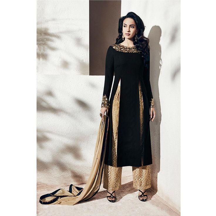 Nakkashi Black , Beige Chiffon and Georgette Designer Salwar Kameez                                                                                                                                                                                 More