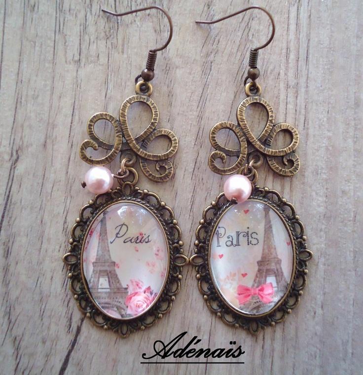Boucles d'oreilles Paris romantique....