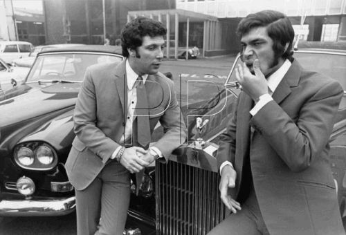 Engelbert Humperdinck with Tom Jones with their cars in February 1969