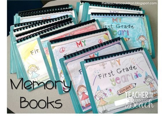 Finished Memory Books! Student pages from beginning of year and end of year so you can see how much they have grown and changed. Monthly writing pages each month, great for watching their growth!