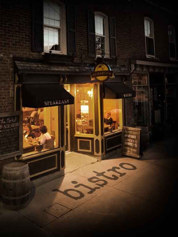 Agrarian Bistro. Downstairs is a cheese market by day and a speakeasy by night.