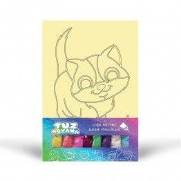 Kum Boyama Seti (Silikosis içermez) Doğal Tuz Boyama Kedi