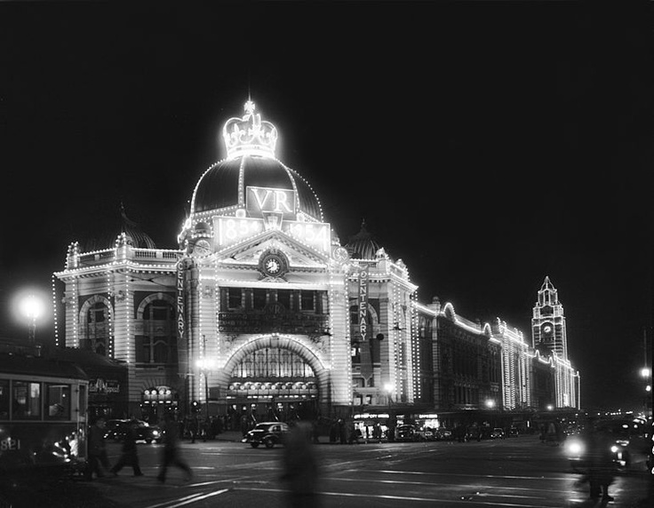 Flinders St Station beautifully .decorated for The Royal Tour,  1954.  Melbourne,  Australia