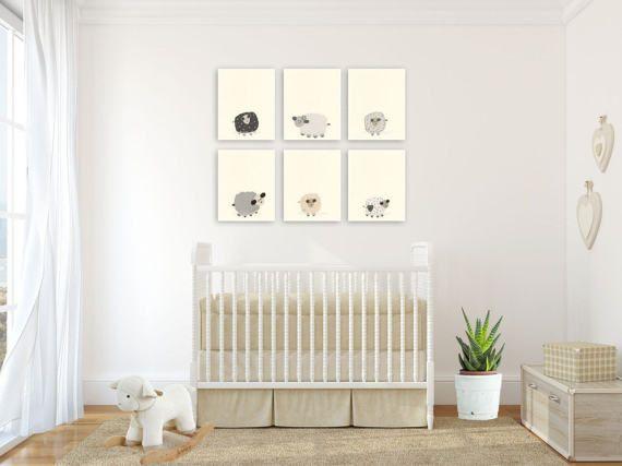 Baby Nursery Art Decor Close Up Portraits Set Of Prints For Sheep Lamb Match To Little Sleepy Modern