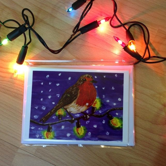 Pack of 5 Robin Christmas Cards  £4.00