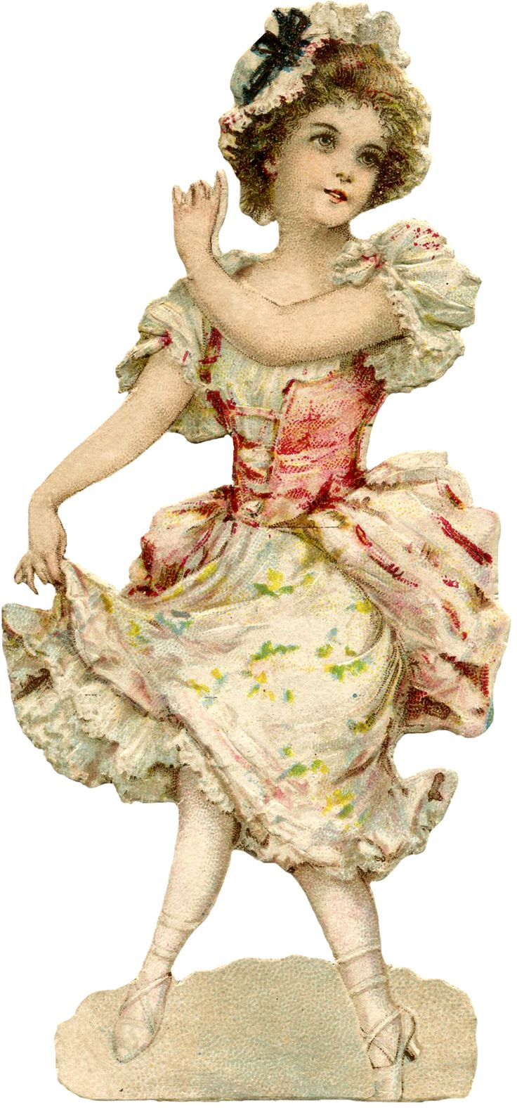 Free vintage ephemera. Dancing Colonial Miss Image - Girl. Pink. With thanks to the Graphics Fairy.