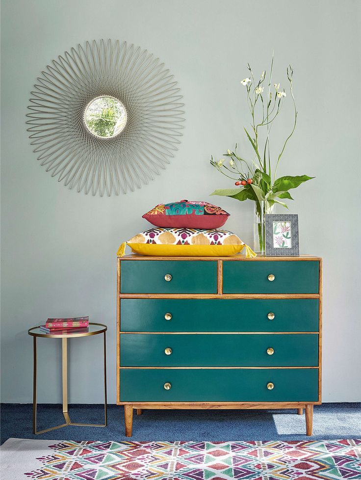 5-drawer chest of drawers in green solid acacia IKAT | Maisons du Monde