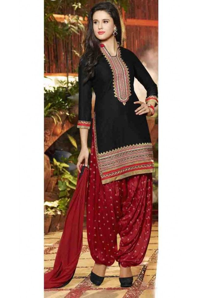 Melodic Black Cotton Embroidered Work Patiala Salwar Suit