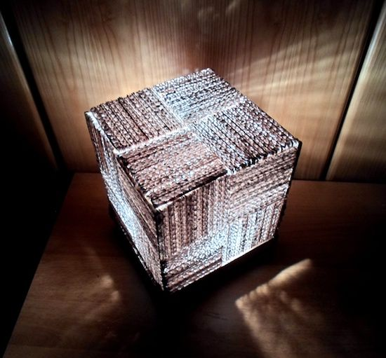 #BeautifullyUpcycled - This cube lamp composed of recycled corrugated cardboard is unexpectedly chic and textural. The Cube Cardboard Lamp by Linda Rose.