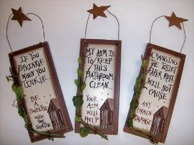 3 Outhouse Wood Primitive Bathroom Signs Wall Decor With Hangers Rustic Stars | eBay